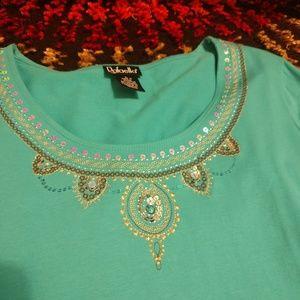 Rafaella Adorned Long Sleeve Blue Top L